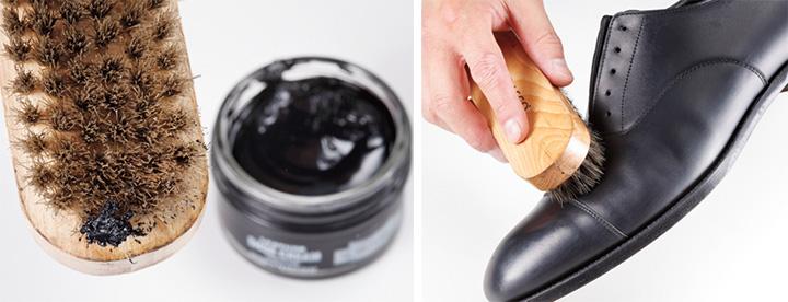 水分量多めのクリームを靴全体にのばしつつ磨く