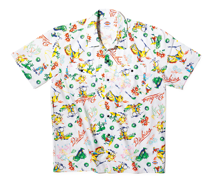 ディッキーズのアロハ柄 オープンカラーシャツ