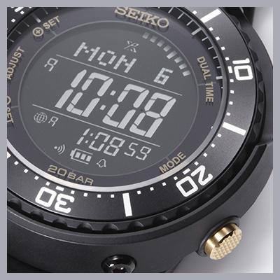 デジタルウォッチでありながら、ローテクな回転ベゼルを装着しているのがこのモデルのポイント。ダイヤル外周で点灯するミニッツドットが分針の役割を果たすため、経過時間の把握やカウントダウンができる。