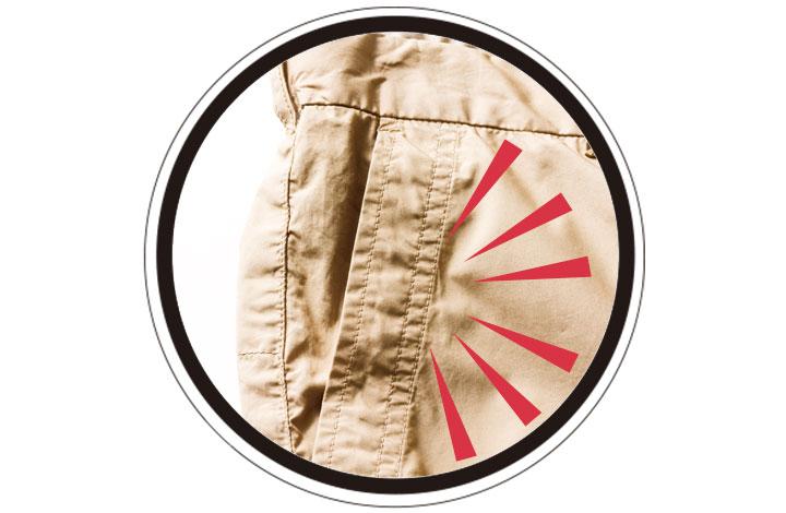 ポケットの縁に幅広ステッチ!
