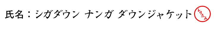 氏名:シガダウン ナンガのダウンジャケット