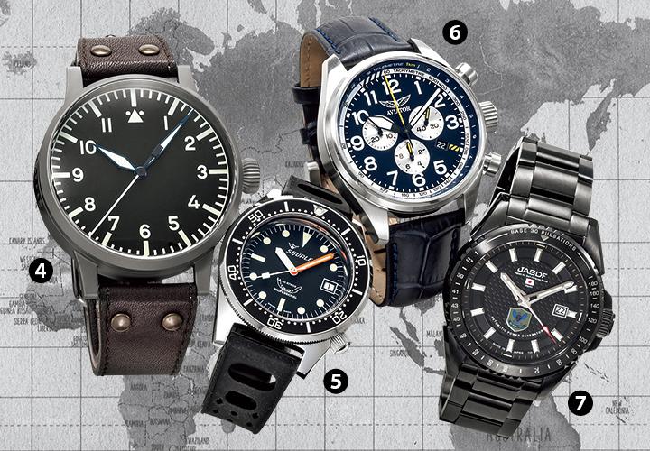 ラコ、スクワーレ、アビエイター、ケンテックスの腕時計