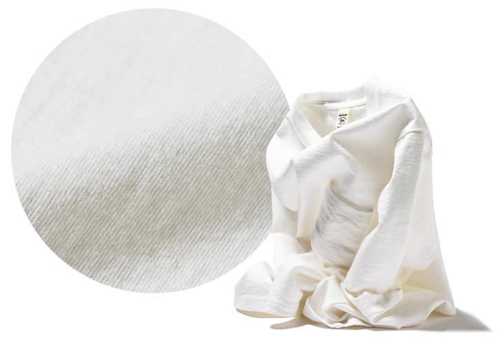 ジャックマンの度詰めポケットTシャツ、生地拡大と生地の厚みにより自立する画像