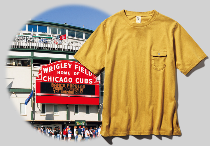 ジャックマンのポケットTシャツとリグレー・フィールドの外壁画像