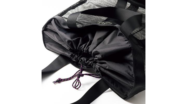 モンベルのメッシュバッグ、開口部
