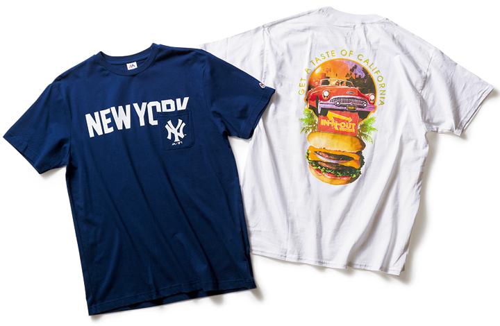 インアンドアウトバーガーのTシャツとマジェスティックのTシャツ