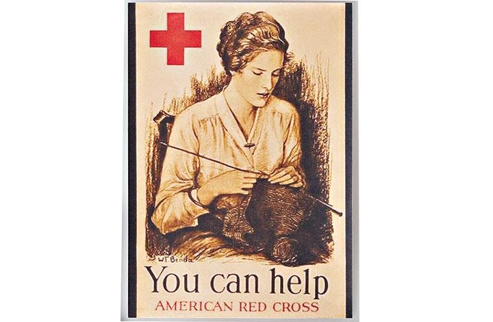 息子に贈るニットを手編みする母のポスター
