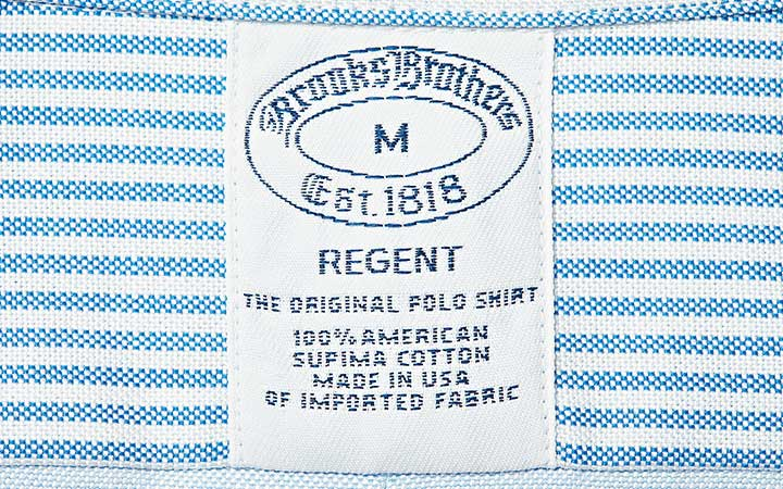 ブルックス ブラザーズ ファンシャツ カスタマイズのタグ画像