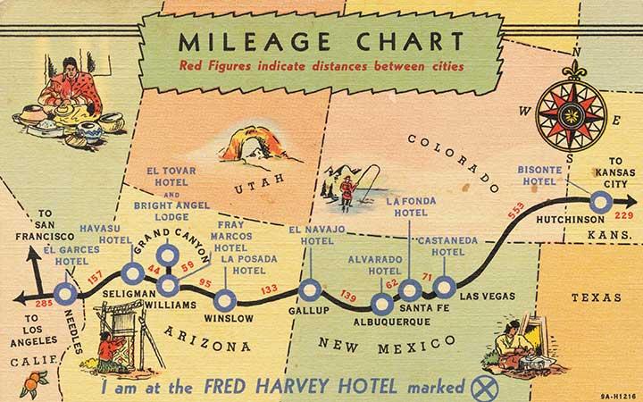 フレッド・ハービー社のホテルマップ画像