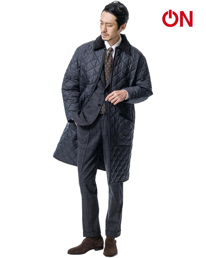 ラベンハムのキルティングコートユナイテッドアローズ別注モデル着用画像1