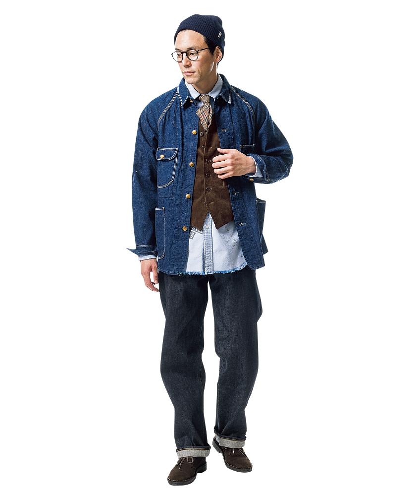 オアスロウのデニムジャケット×オアスロウの101ダッドジーンズ