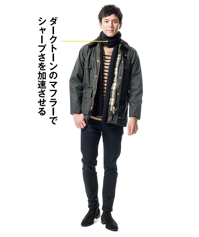 バブアーのジャケット×ヒステリックグラマーのSデニム スリムパンツ