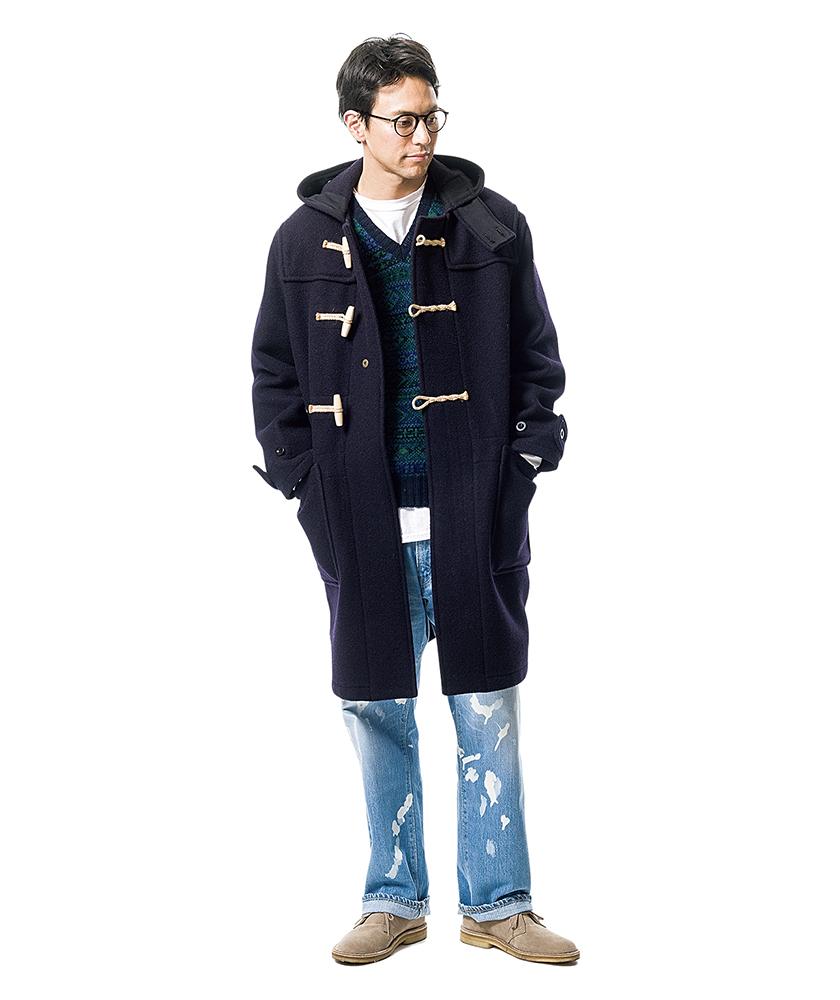グローバーオールのコート×ブルーブルーのブリーチアウトディキシージーンズ