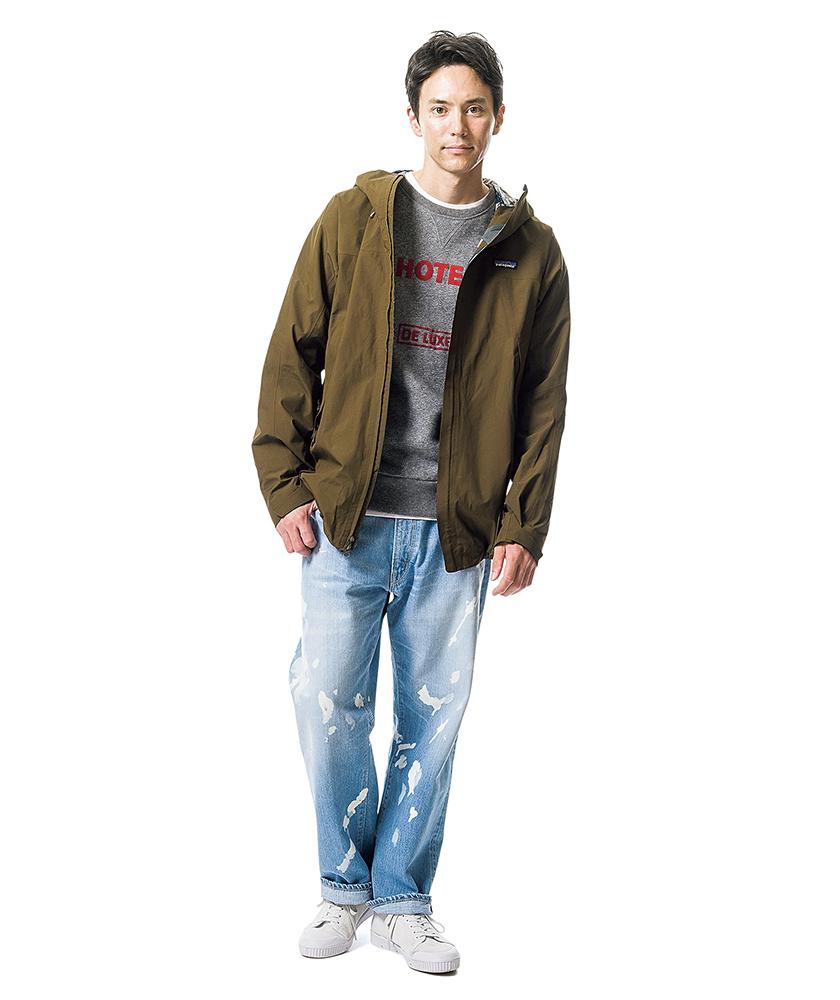 パタゴニアのジャケット×ブルーブルーのブリーチアウトディキシージーンズ