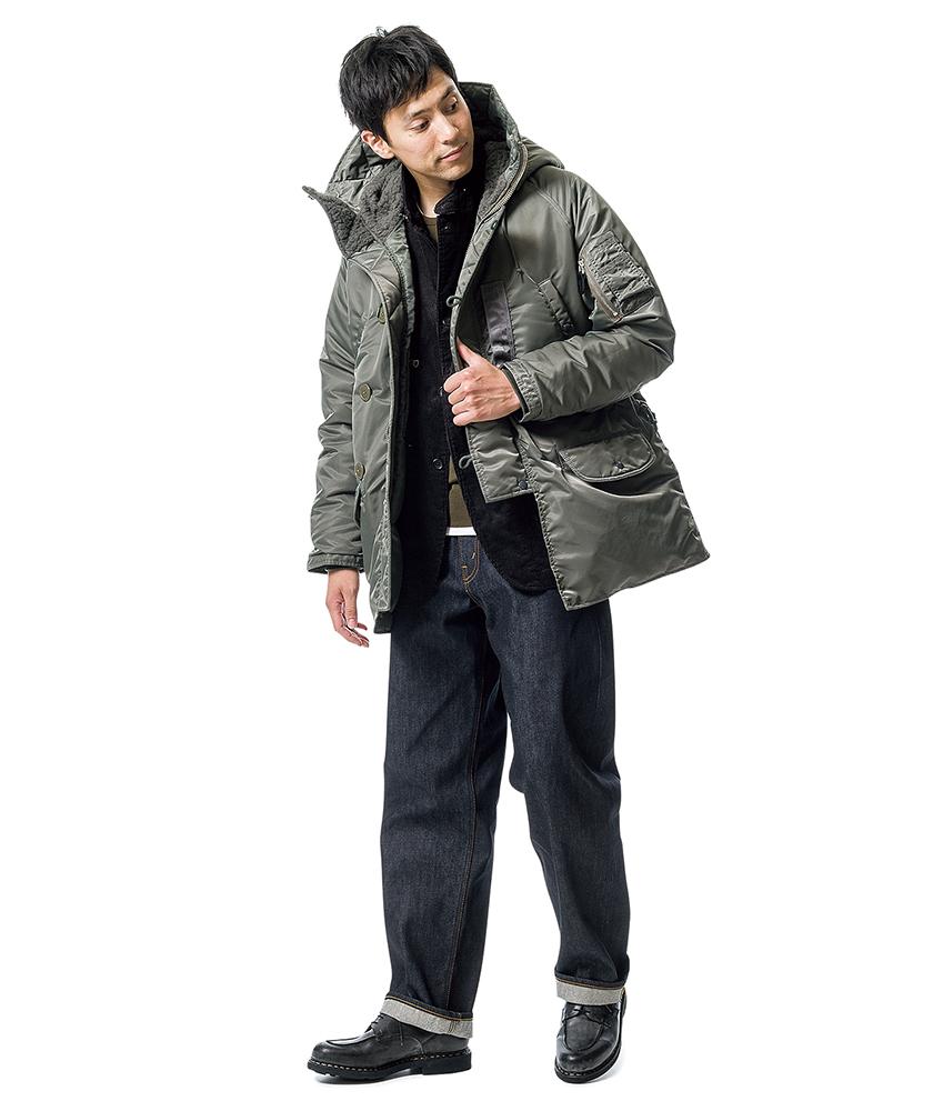 ビームス プラスのN-3Bジャケット×オアスロウの101ダッドジーンズ