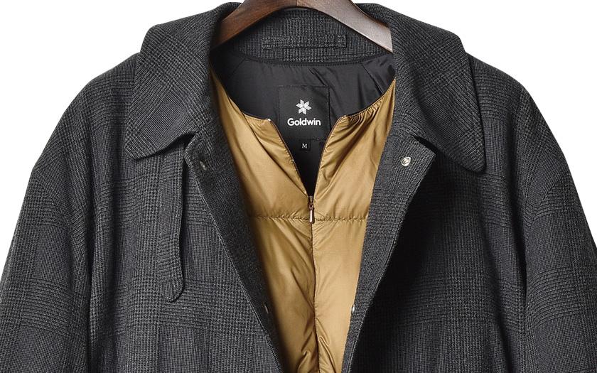 薄型コートとダウンのコントラストでメリハリのあるスタイルを演出!