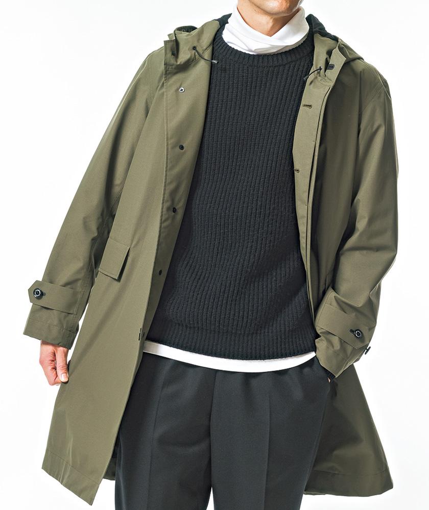 オリーブのコートで男らしさを加味