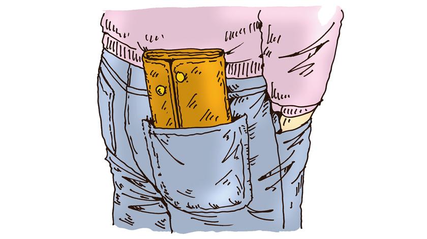 尻ポケから長財布がコンニチハ……