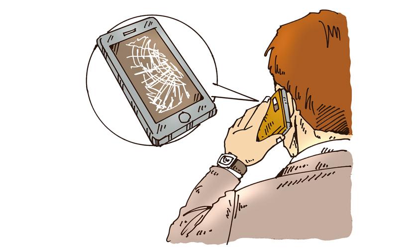 iPhoneケースお洒落。でも画面がバリバリの画像