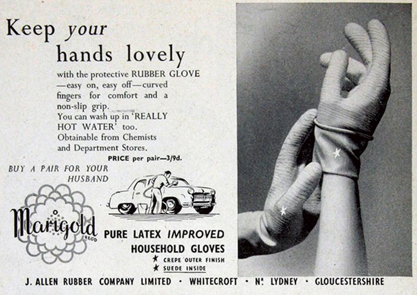 最古の食器洗い用ゴム手袋