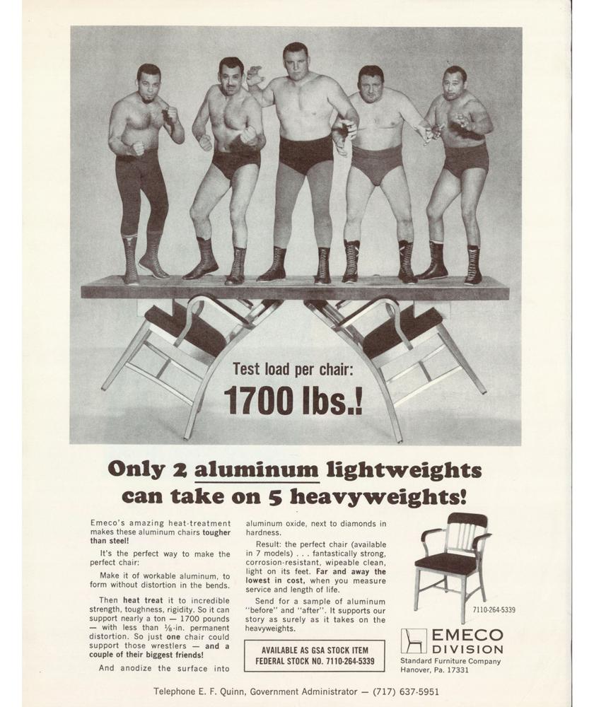 エメコ ネイビーチェア 当時の広告写真