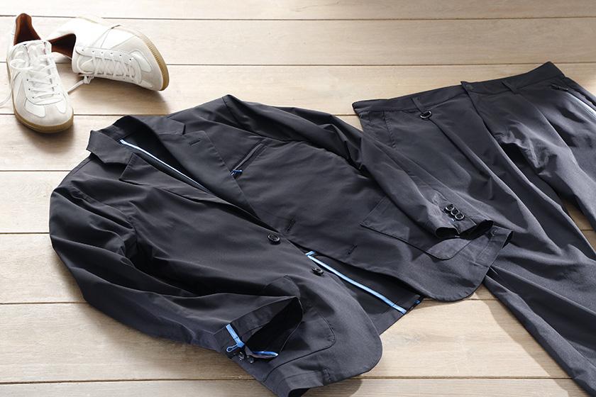 ワイゾーのカラーパイピングテーラードジャケットとアンクルテーパードパンツ