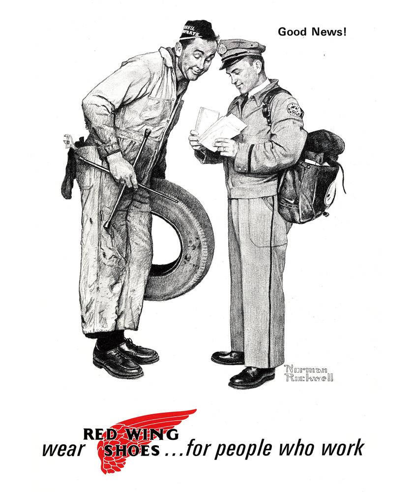 Red Wings レッド・ウィングの#9112 ポストマン オックスフォード ラフアウトレザー イラスト画