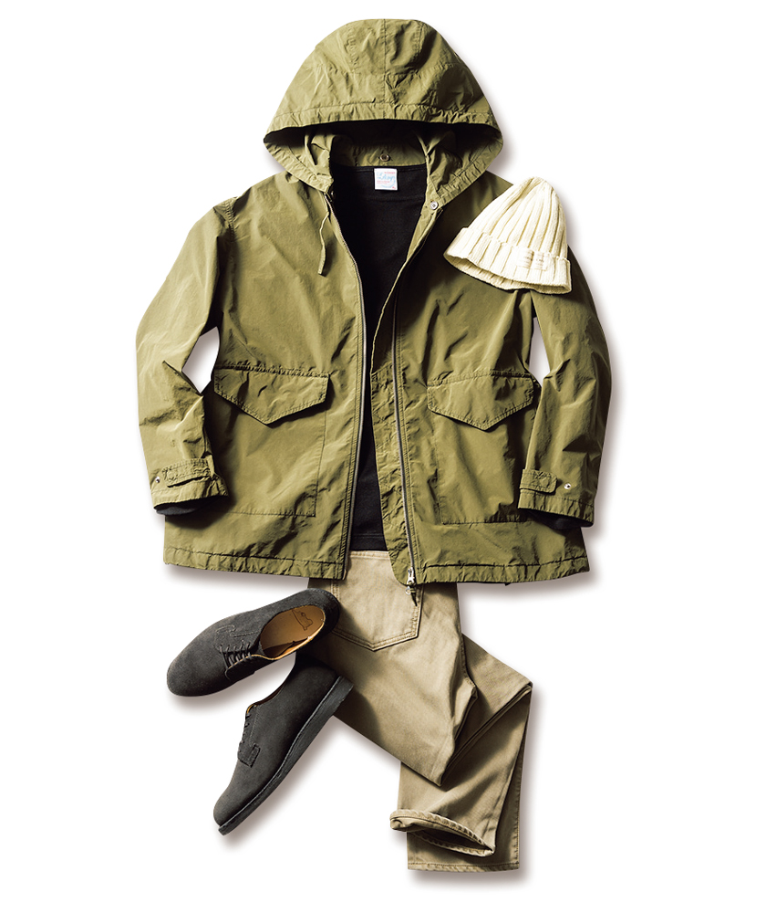 アスペジのジャケット ルトロワのカットソー ウエアハウス×ビームス プラスのパンツ サンディニスタの帽子 商品写真