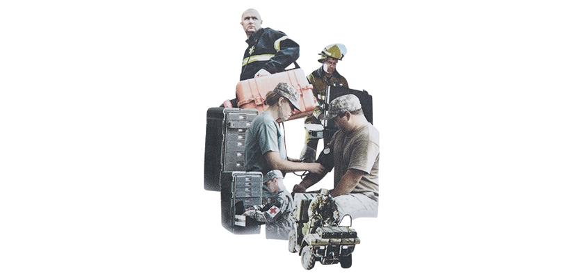アメリカの軍、警察、消防などの国家機関イラスト画