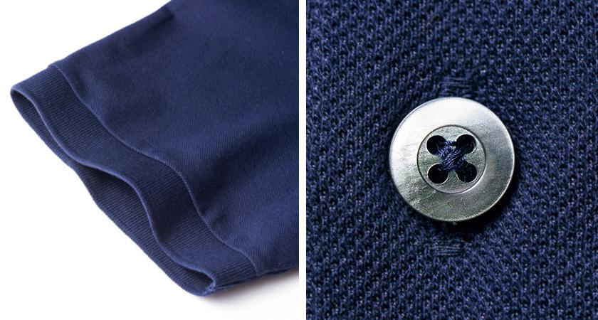 """森岡書店×ゴールデンベアのスペシャル""""ネイビー""""ポロシャツ 袖とボタン"""