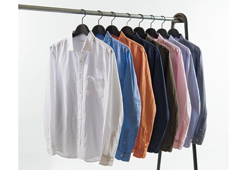 PLST プラステのリヨセルリネン長袖シャツ