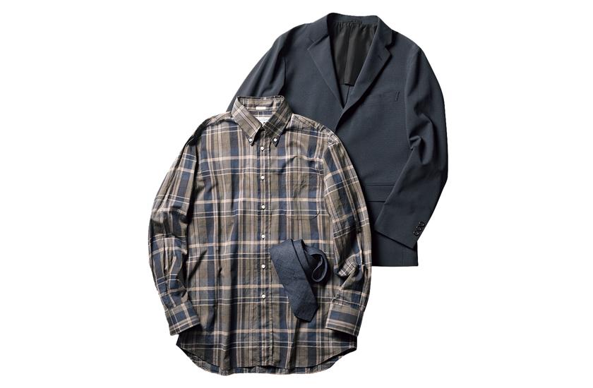 INDIVIDUALIZED SHIRTS ダークトーンマドラスシャツ DRAKE'S ネイビータイ