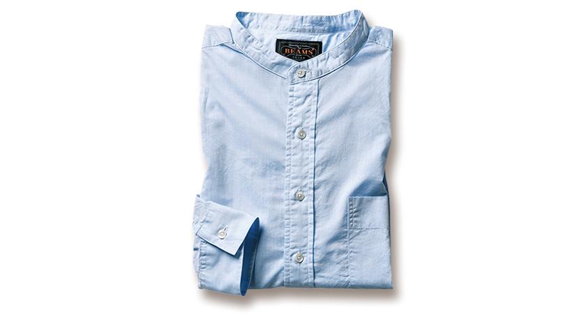 BEAMS PLUSのサックスバンドカラーシャツ