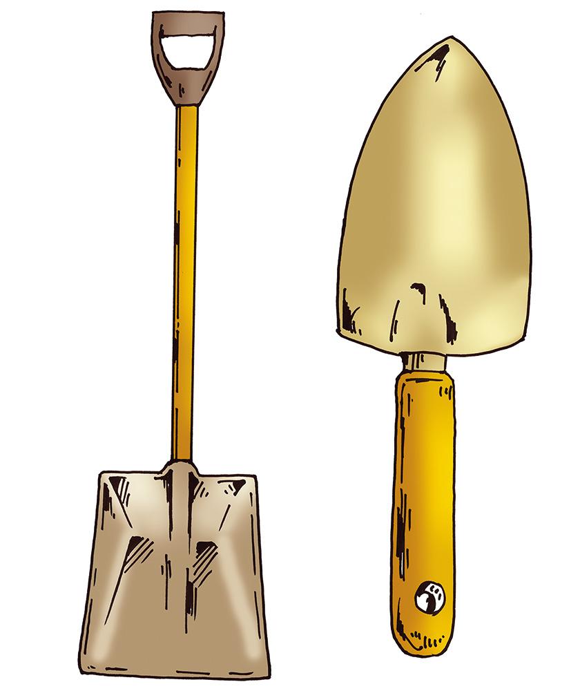 [左]東はスコップ西はシャベル/[右]東はシャベル西はスコップ