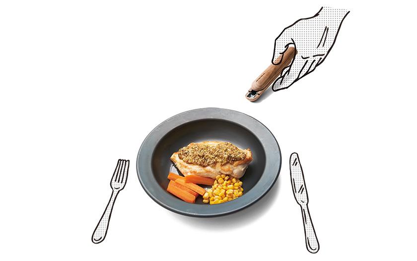取っ手は片手で着脱! 熱々が長持ちする皿