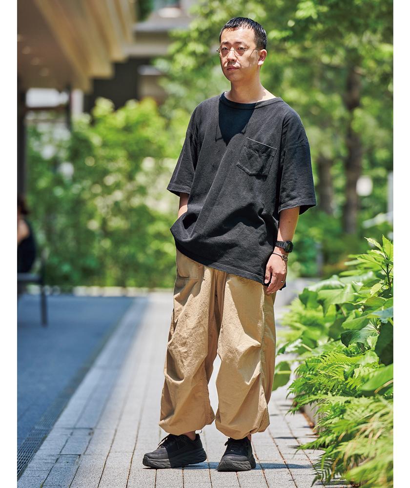 ボナムのTシャツ J.S.ホームステッドのパンツ モデル着用