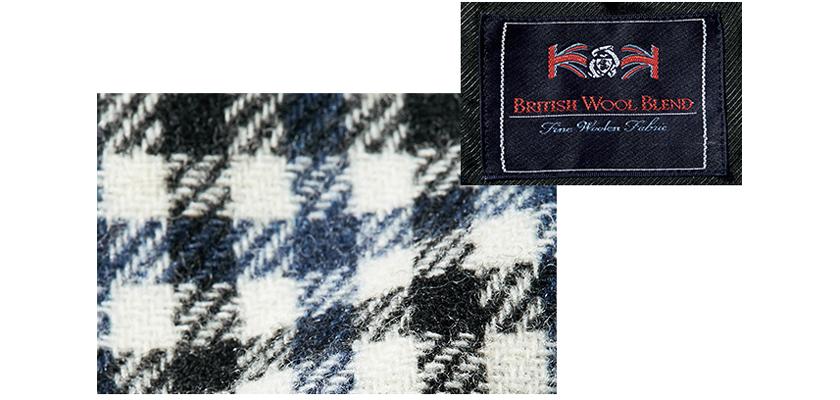 英国羊毛ブレンドのウール100%生地