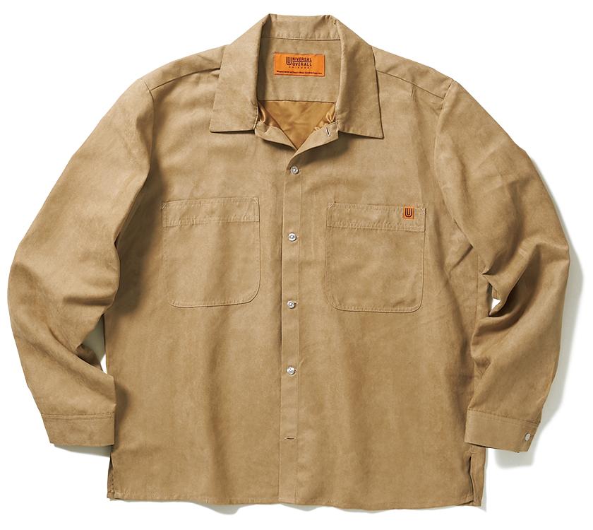 UNIVERSAL OVERALL ユニバーサルオーバーオール ポリスエード オープンカラーシャツ