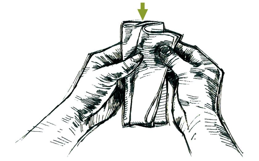 チーフの挿し方 s字