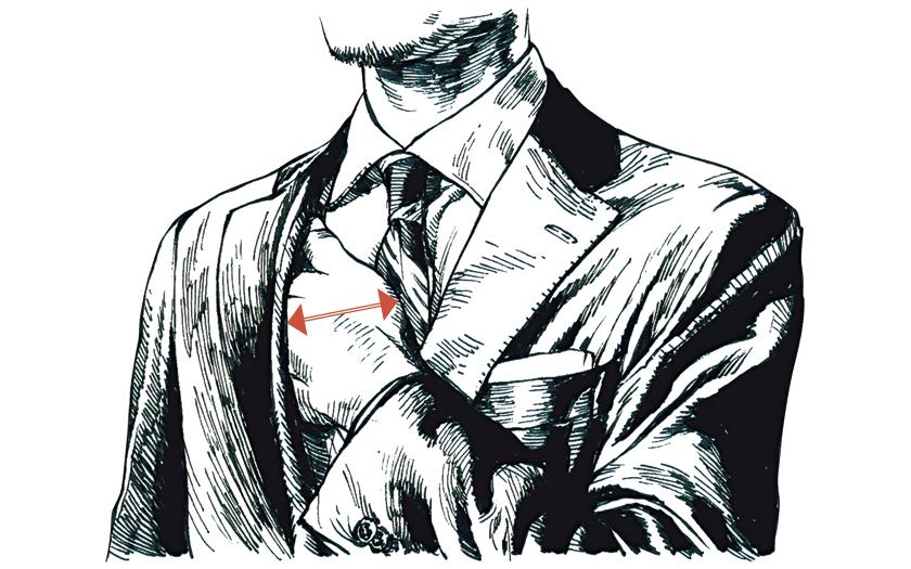 """スーツスタイルの""""5つ""""の絶対値 胸の空き幅"""