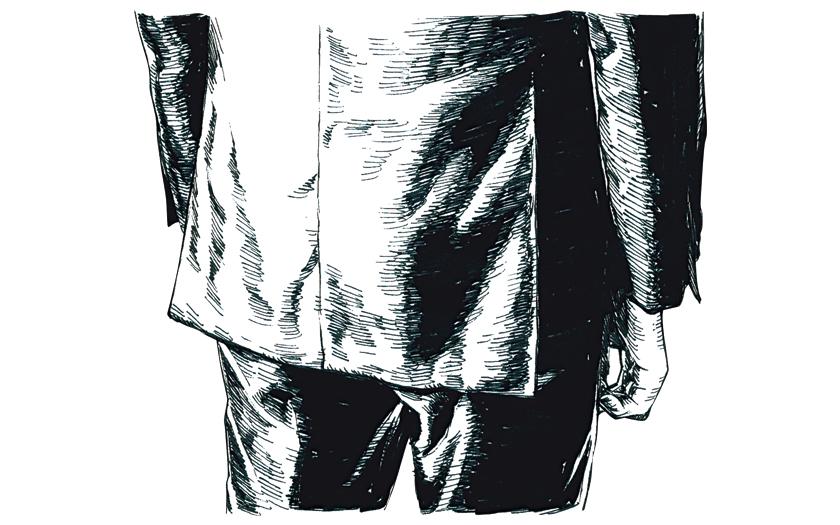 """スーツスタイルの""""5つ""""の絶対値 ジャケットの裾"""