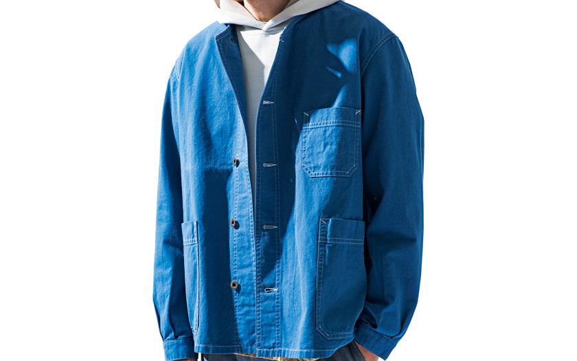 NIGEL CABOURN フレンチワークノーカラーシャツ