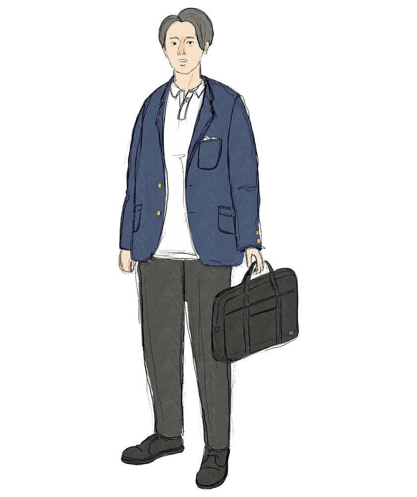 紺ブレ+グレスラ お仕事スタイル