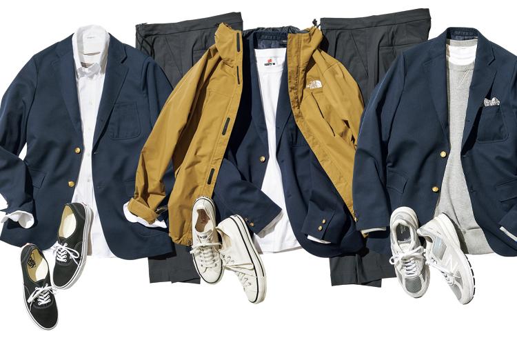 まくる、羽織る、整えるの3段活用で紺ブレ+グレスラも休日スタイルに早変わり!