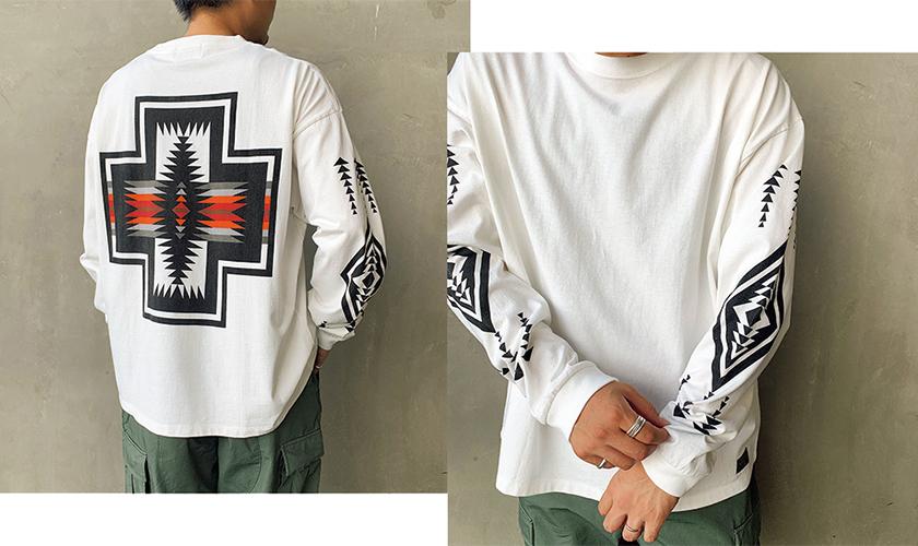 PENDLETON×JEANS FACTORY ペンドルトン×ジーンズファクトリー 別注バックプリントロングスリーブTシャツ