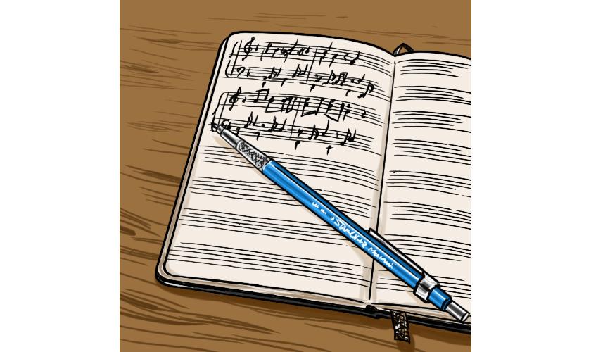 モレスキンのミュージックノート ステッドラーの製図用ペン