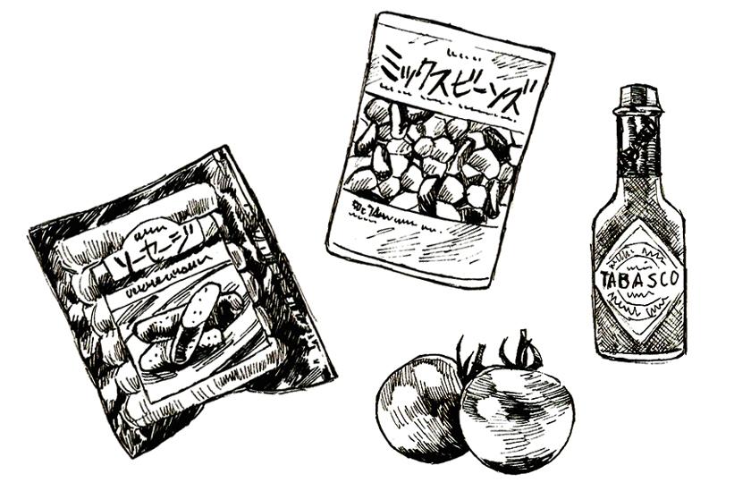 ソーセージとトマトのチリコンカン風ごはん 材料