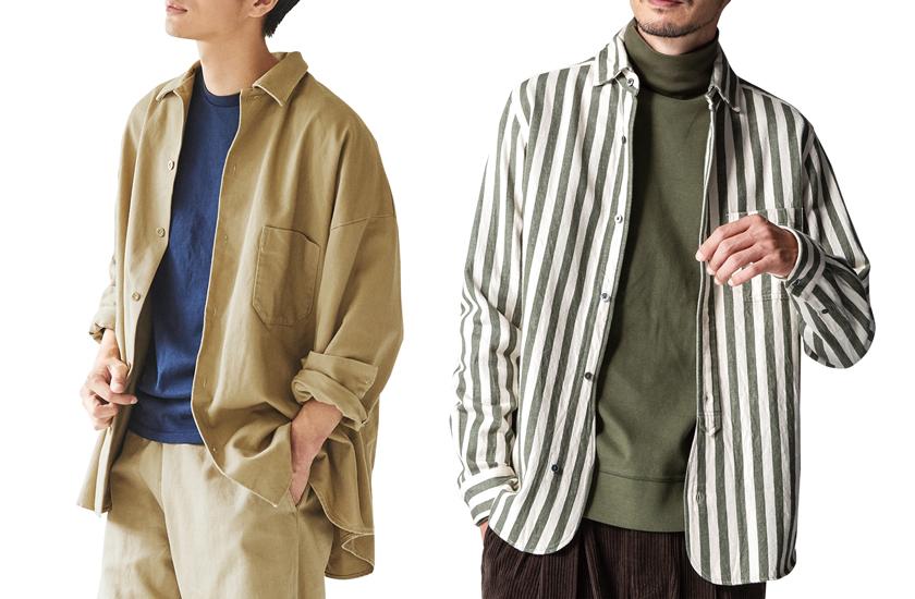 1UPシャツSTYLE はじめるルール ストライプシャツ×タートルネック シャツとパンツのセットアップ