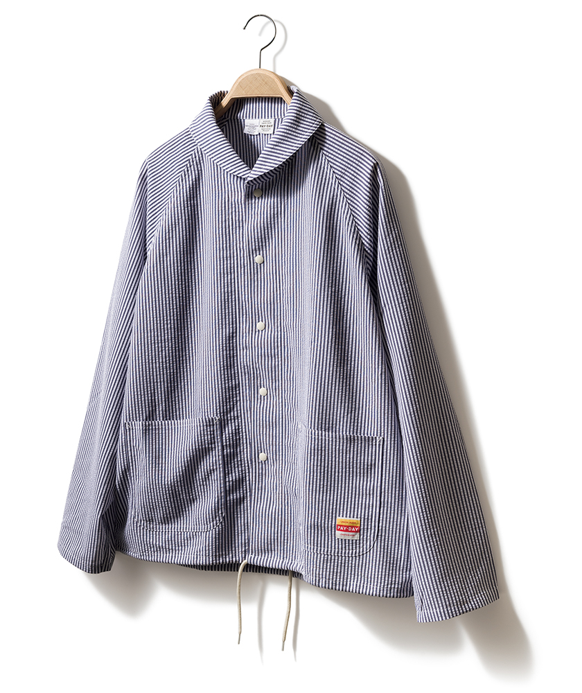 PAY·DAY×JEANS FACTORY ペイ・デイ×ジーンズファクトリーのショールカラー シャツジャケット