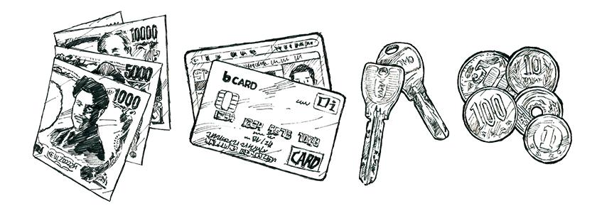 紙幣とカードと鍵と硬貨